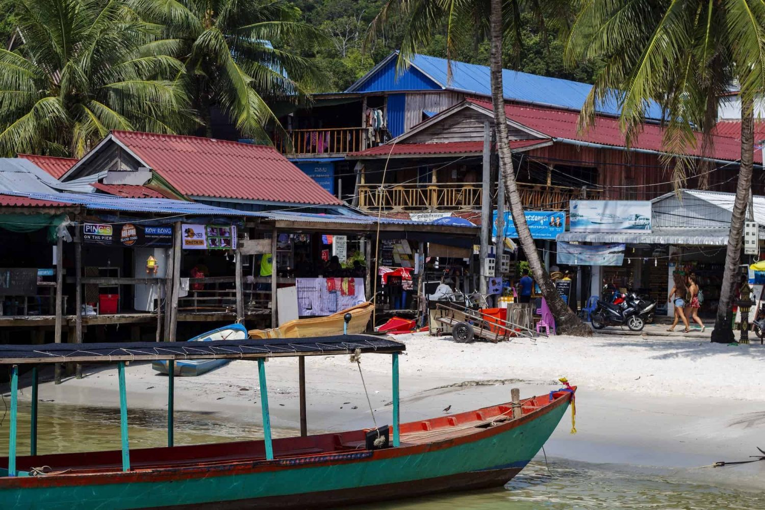 Koh Rong Island, Cambodia - April 7, 2018: View Of Seaside Village With Restaurants And Beach.
